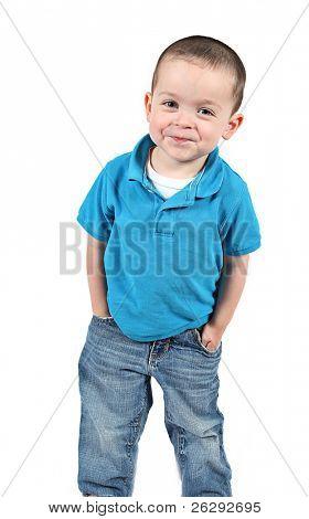 glücklich kleiner Junge mit einem Lächeln, isoliert auf weißem Hintergrund
