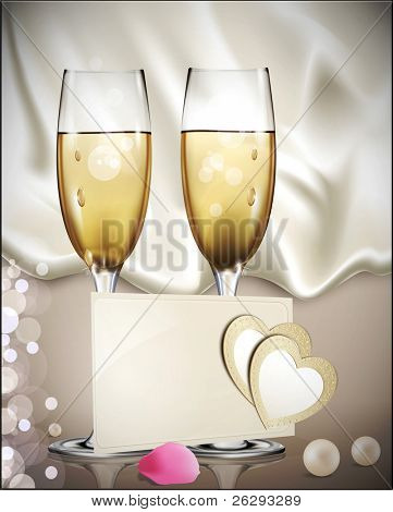 congratulatory background with a beige card with two glasses of white wine, rose petals, pearls, and two hearts (JPEG version)