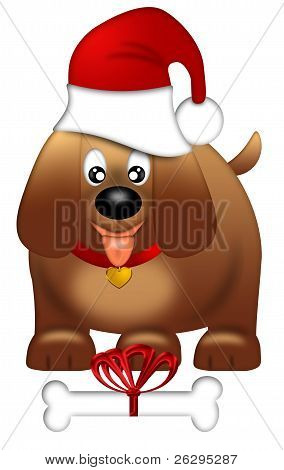 Cute Puppy Dog With Red Santa Hat