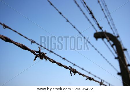 Rusty barbed wires against clear blue sky