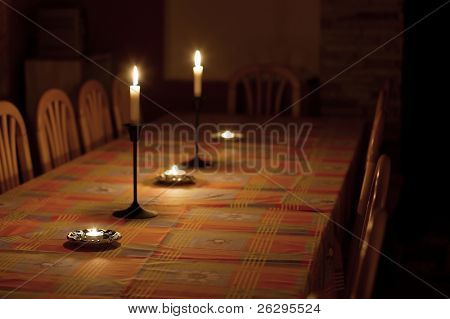 Dining table in dim candle light