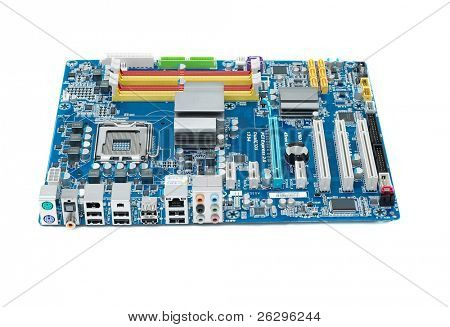 Computer mainboard isolated on white background