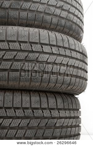 A pile of car tyres