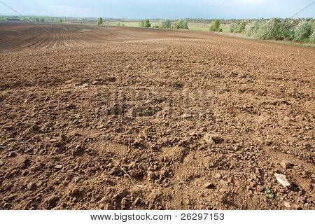 braun Boden eines landwirtschaftlichen Feldes