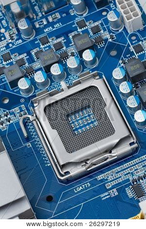 Computer mainboard with empty cpu socket