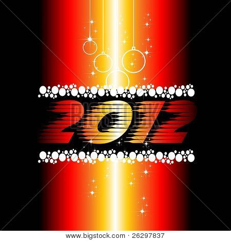 2012 New Year celebration background for cover, Flayer or poster with shiny colors, hanging balls &  stars.