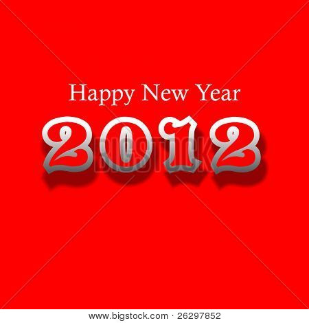 Happy new year 2012  New year design template with red color, gray shadow & dark red shadow.