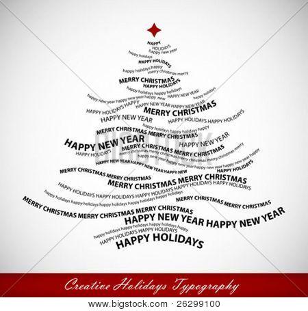 Forma de árvore de Natal do vetor de palavras - composição tipográfica-