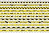 Creative Police Line Black And Yellow Stripe Border. Police, Warning, Under Construction, Do Not Cro poster