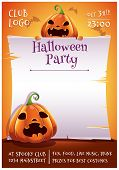 Happy Halloween Editable Poster With Angry And Scared Pumpkins With Parchment On Orange Background W poster