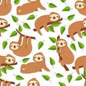 Cute Baby Sloth Bear. Tropical Bedroom Vector Seamless Pattern. Illustration Of Sloth Lazy Endless B poster
