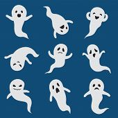 Scary Ghosts. Cute Halloween Ghost. White Silhouette Vector Boohoo Ghostly Characters Isolated. Cart poster