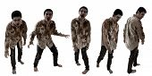 Set Of Zombies Isolated On White Background poster