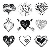 Heart Set, Hand Drawn Doodle Sketch Style. Handdrawn Illustrations By Brush, Pen, Ink. Cute Crown, A poster