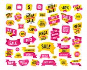 Sales Banner. Super Mega Discounts. Business Icons. Graph Chart And Case Signs. Dollar Currency And  poster
