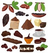 Chocolate Vector Cartoon Cocoa Choco Sweet Food From Coco-beans Cake Confection Illustration Set Of  poster