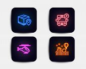 Neon Glow Lights. Set Of Helicopter, Parcel Tracking And Bus Parking Icons. Roller Coaster Sign. Cop poster