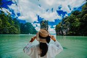 Traveler Woman With Holding Hat Joy Relaxing Looking Beautiful View Amazing Nature Landscape Of Jame poster