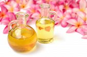 foto of massage oil  - Massage oil in tropical spa - JPG