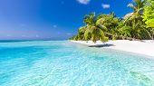 Amazing Beach Scene, Tropical Landscape Of Maldives Island. Exotic Travel Destination For Luxury Sum poster