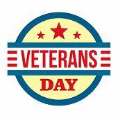 Round Veterans Day Logo. Flat Illustration Of Round Veterans Day Vector Logo For Web Design poster