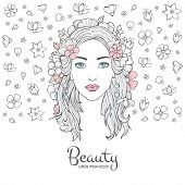 Cute Woman Portrait. Glamour Fashion Young Beautiful Woman Flowers In Hair And Smile Face Vector Bac poster