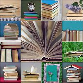 Collage With Books: Library, Education, Science, Reading. A Stack Of Textbooks And An Open Book. Pap poster