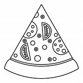 Slice Of Pizza With Ingredients Icon. Outline Illustration Of Slice Of Pizza With Ingredients Icon F poster