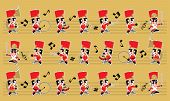 A Marching Cute Brass Band With Various Kind Of Instruments. With Colour And Music Symbols Backgroun poster