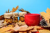Natural Homemade Treats Autumn Season Keep Healthy. Autumnal Beverage With Homemade Natural Sweets.  poster