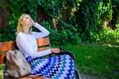 Girl Sit Bench Relaxing In Shadow, Green Nature Background. Woman Blonde Take Break Relaxing In Park poster
