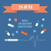 International Day On 26 June Drug Awareness Prevention Poster With Syringe Needle Drawing Cardiogram poster