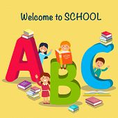 Study At School. Children Font In Cartoon Style. Schoolchildren Learn Alphabet. Colored Letters And  poster