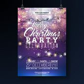 Christmas Party Flyer Illustration With Lights Garland And Typography Lettering On Shiny Blue Backgr poster