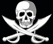 pic of pirate ship  - Skull and two pirate swords on black - JPG