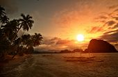Vivid Sunset in Getaway Tropical Destination poster