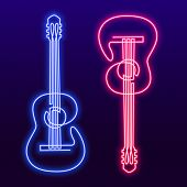 Neon Pink Blue Light Lamp Continuous Line Drawing Of Acoustic Guitar Vector. Musical Instrument Sing poster