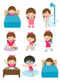 Daily Routine Activities For Kids With Cute Girl,routines For Kids, Daily Routine Of Child, Little C poster