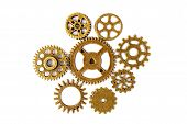 Bright Gears On White Background, Lots Of Round Gears With Brass Color poster