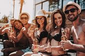 Young Friends With Alcoholic Drinks At Poolside. Group Of Young Smiling People Holding Bottles Of Be poster