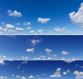 Beautiful Blue Sky Panoramas. Three Different Panoramas Of Blue Sky. poster