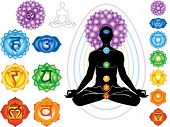 stock photo of om  - Silhouette of man with symbols of chakra - JPG