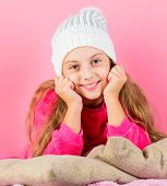 Kid Dreamy Wear Knitted Hat. Winter Season Coziness Attribute. Winter Season Concept. Winter Fashion poster