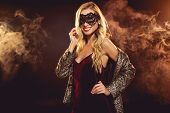 Beautiful Blonde Glamorous Girl In Carnival Mask poster