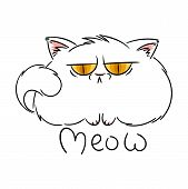 Meow. Angry Furry Cartoon Cat. Cute Grumpy Cat For Prints, Design, Cards, Tag. Vector Illustration. poster