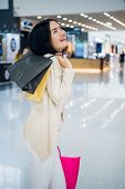Woman In Shopping. Happy Woman With Shopping Bags Enjoying In Shopping. Consumerism, Shopping, Lifes poster