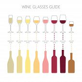 Wine Glasses And Bottles Guide Infographic. Colorful Vector Wine Glass And Wine Bottle Types Icons.  poster