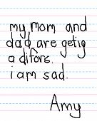 image of heartfelt  - Child writes a letter on a primar tablet notebook page - JPG