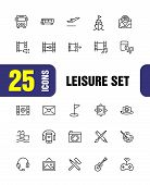 Leisure Icons. Set Of Line Icons. Swimming Pool, Camera, Paints. Entertainment Concept. Vector Illus poster