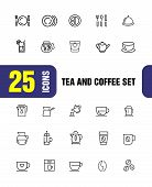 Tea And Coffee Icons. Set Of  Line Icons. Tea Cup, Coffee Bean, Teapot. Beverage Concept. Vector Ill poster